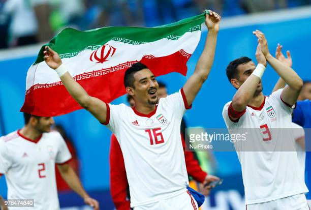 Group B Morocco v IR Iran FIFA World Cup Russia 2018 Reza Ghoochannejhad and Ehsan Haji Safi celebrate the victory at Saint Petersburg Stadium Russia...