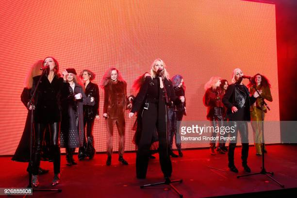 Group Bananarama Keren Woodward Sara Dallin and Siobhan Fahey perform at the end of the Sonia Rykiel show as part of the Paris Fashion Week...