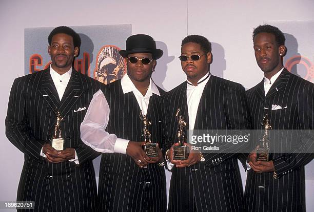 B group Boyz II Men attends the 10th Annual Soul Train Music Awards on March 29 1996 at the Shrine Auditorium in Los Angeles California