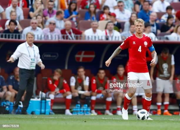 Group C France v Denmark FIFA World Cup Russia 2018 Age Hareide and Simon Kjaer at Luzhniki Stadium in Moscow Russia on June 26 2018