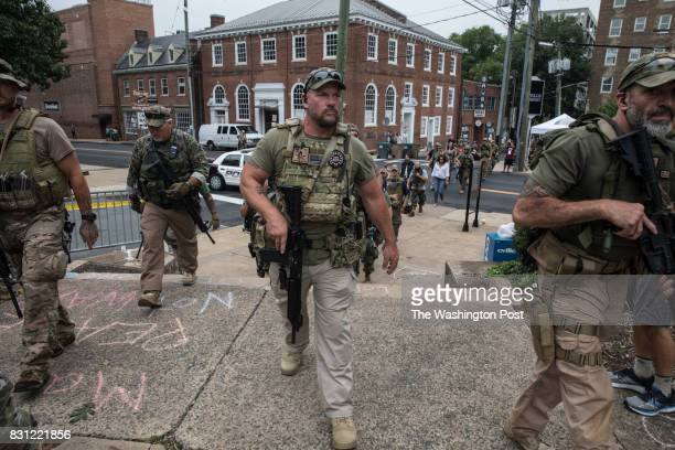 A group calling themselves The Militia arrive to keep the peace outside the Unite the Right rally in CharlottesvilleVirginia August 12 2017