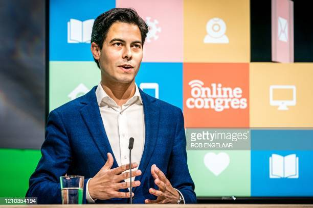 Group chairman Rob Jetten speaks during an online party congress in Veldhoven, on April 18 2020, the first party to organize their party congress...