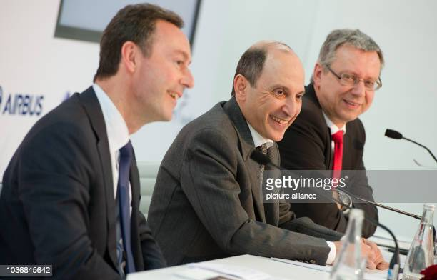 Group Chief Executive of Qatar Airways Akbar Al Baker Airbus president Fabrice Bregier and chairman of the boatd of airport operator Fraport Michael...