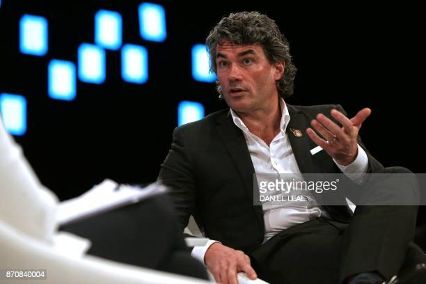 BT Group chief executive officer Gavin Patterson gestures as he gives an interview at the annual Confederation of British Industry conference in east...