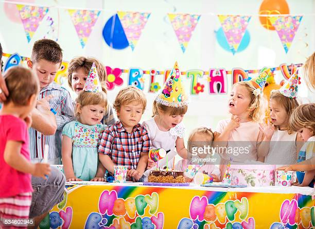 Group children on a birthday party.