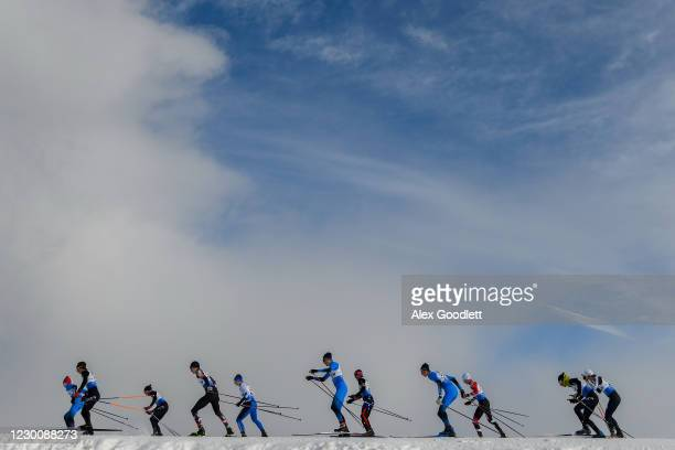 Group competes during the men's 10 km cross country mass start on Day 2 of the FIS Nordic Combined Continental Cup at Soldier Hollow Nordic Center on...