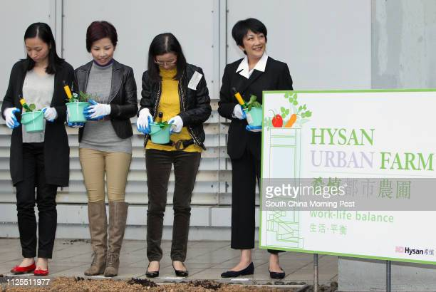 DFS Group Connie Tsang Yolanda Ng Wan Chai District Officer Angela Luk and Chairman of Hysan Development Irene Lee Yuenlien attend opening ceremony...
