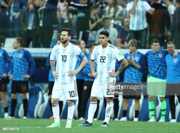 Group D Argentina v Croazia FIFA World Cup Russia 2018 Disappointment of Lionel Messi and Cristian Pavon at Nizhny Novgorod Stadium Russia on June 21...