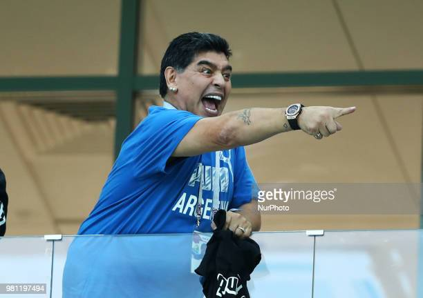 Group D Argentina v Croazia FIFA World Cup Russia 2018 Former Argentina player and captain Diego Armando Maradona in the stands at Nizhny Novgorod...