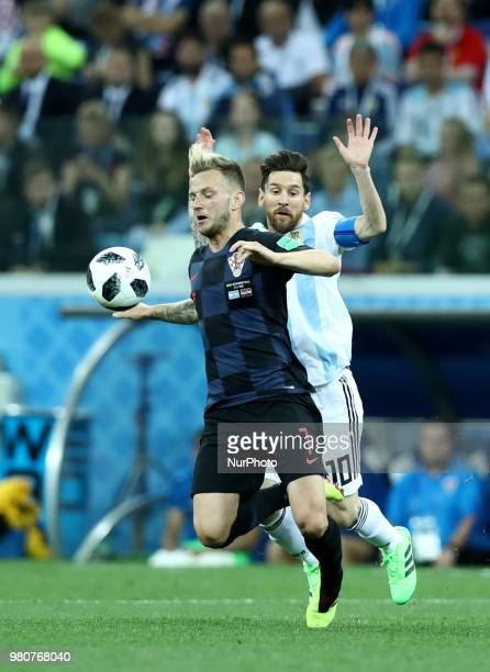 Group D Argentina v Croazia FIFA World Cup Russia 2018 Ivan Rakitic and Lionel Messi at Nizhny Novgorod Stadium Russia on June 21 2018