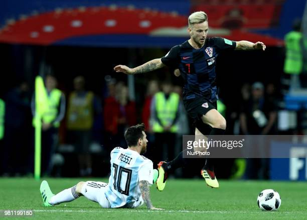 Group D Argentina v Croazia - FIFA World Cup Russia 2018 Lionel Messi and Ivan Rakitic at Nizhny Novgorod Stadium, Russia on June 21, 2018.