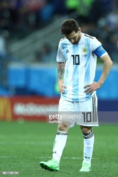 Group D Argentina v Croazia FIFA World Cup Russia 2018 The disappointment of Lionel Messi at Nizhny Novgorod Stadium Russia on June 21 2018