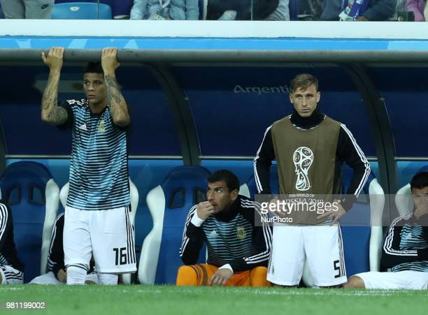 Group D Argentina v Croazia FIFA World Cup Russia 2018 The disappoinement of Marcos Rojo and Lucas Biglia on the bench at Nizhny Novgorod Stadium...