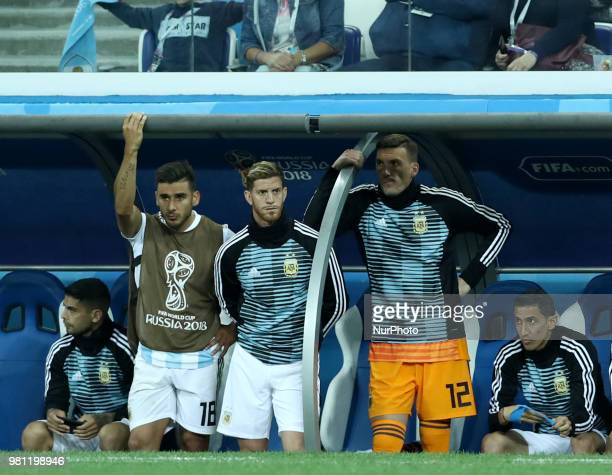 Group D Argentina v Croazia FIFA World Cup Russia 2018 The disappoinement of Edoardo Salvio Cristian Ansaldi and Franco Armani on the bench at Nizhny...