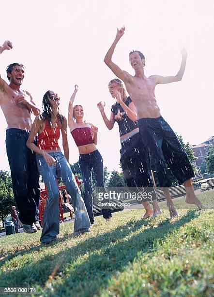 Group Dance in Summer Rain