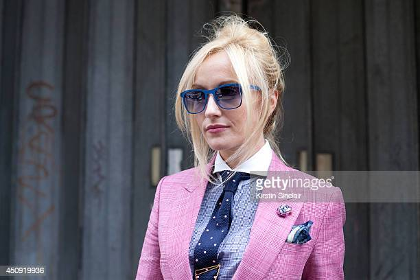 Group Fashion Editor at The Rake Sarah Ann Murray wears a Bespoke suit and an H and M shirt on day 3 of London Collections Men on June 17 2014 in...