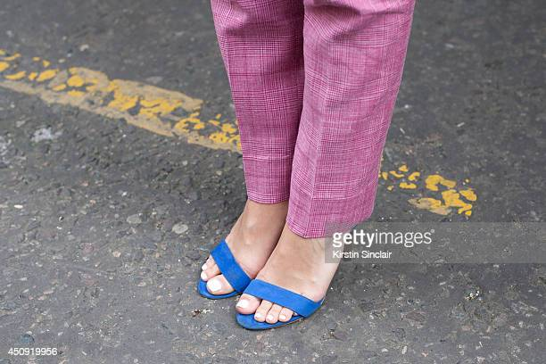 Group Fashion Editor at The Rake Sarah Ann Murray wears a Bespoke suit Zara shoes on day 3 of London Collections Men on June 17 2014 in London England
