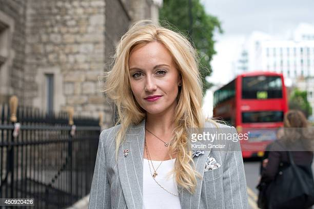 Group Fashion Editor at The Rake Sarah Ann Murray wears a Bespoke suit and an H and M top on day 2 of London Collections Men on June 16 2014 in...