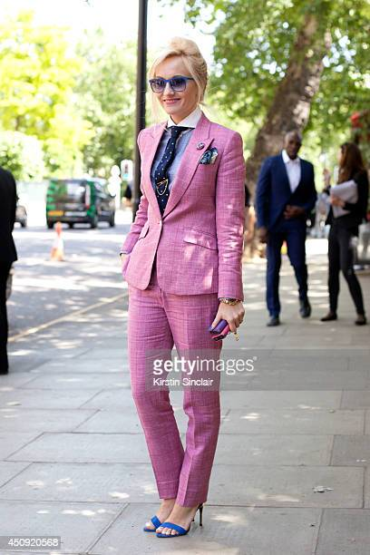 Group Fashion Editor at The Rake Sarah Ann Murray wears a Bespoke suit Zara shoes and H and M shirt on day 3 of London Collections Men on June 17...
