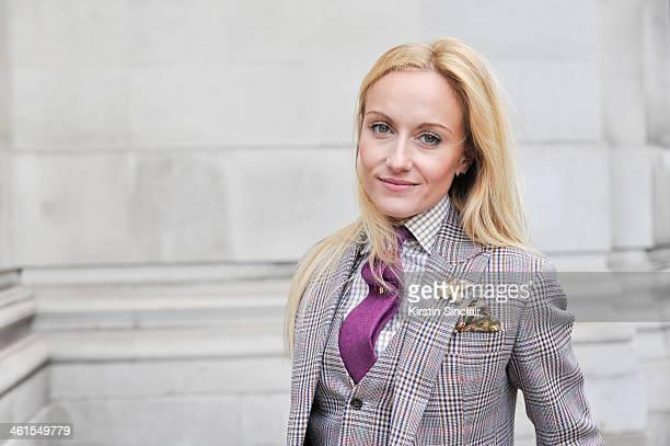 Group Fashion Editor at The Rake Sarah Ann Murray wears a bespoke suit and shirt Drakes tie day 2 of London Mens Fashion Week Autumn/Winter 2014 on...