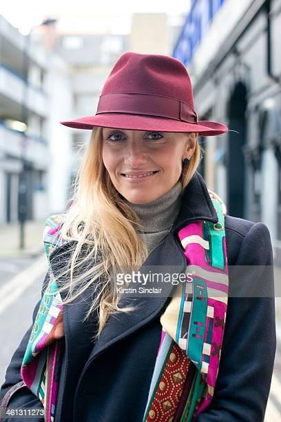 Group Fashion Editor at The Rake Sarah Ann Murray wears a Zara jacket Bespoke under jacket Hermes scarf and a Bates hat day 1 of London Mens Fashion...