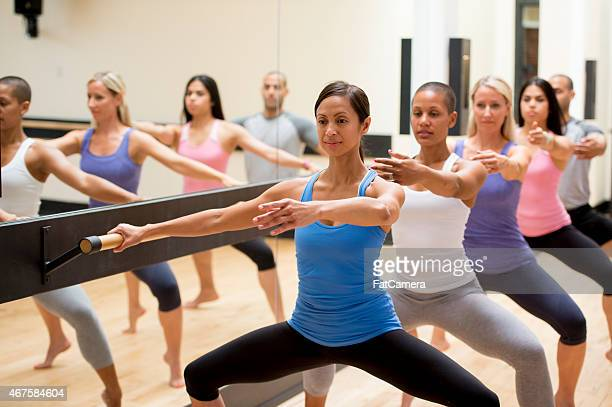 group fitness dance class - barre class stock photos and pictures
