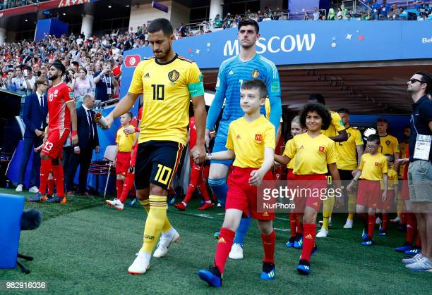 Group G Belgium v Tunisia FIFA World Cup Russia 2018 Captain of Belgium Eden Hazard tacking the field at Spartak Stadium in Moscow Russia on June 23...