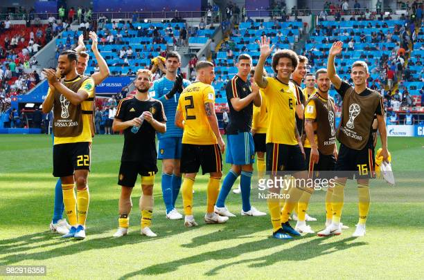 Group G Belgium v Tunisia FIFA World Cup Russia 2018 Dries Mertens Thomas Meunier and Eden Hazard with the teammates greeting the supporters at...