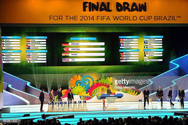 Group G containing Germany, Portugal, Ghana and USA is displayed on the big screen on stage behind the draw assistants, Fernanda Lima and FIFA...