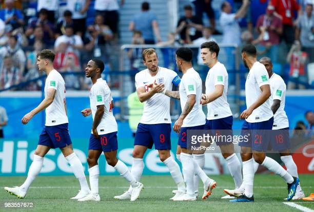 Group G England v Panama FIFA World Cup Russia 2018 Harry Kane with the teammates after the goal scored at Nizhny Novgorod Stadium Russia on June 24...