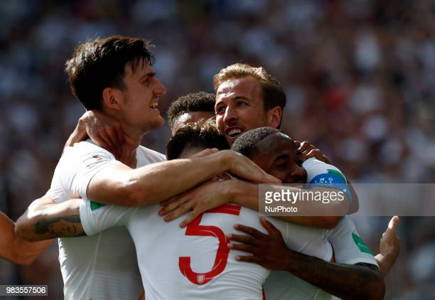 Group G England v Panama FIFA World Cup Russia 2018 Harry Maguire Harry Kane Raheem Sterling and John Stones celebrate at Nizhny Novgorod Stadium...