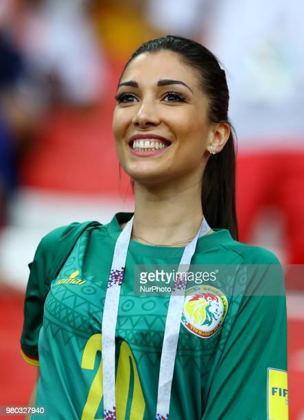 Group H Poland v Senegal FIFA World Cup Russia 2018 Keita Balde girlfriend Simona Gautieri on the stands at Spartak Stadium in Moscow Russia on June...