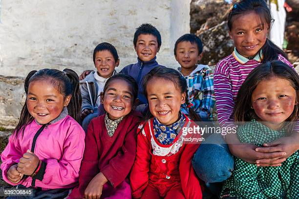 Group happy Sherpa children in Everest Region