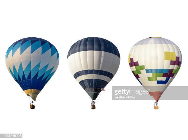 group hot air balloon on white background - hot air balloon stock pictures, royalty-free photos & images