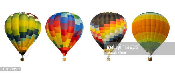 group hot air balloon on white background - balloon ride stock pictures, royalty-free photos & images