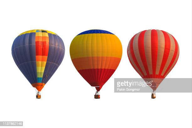 group hot air balloons isolated on white background - hot air balloon stock pictures, royalty-free photos & images