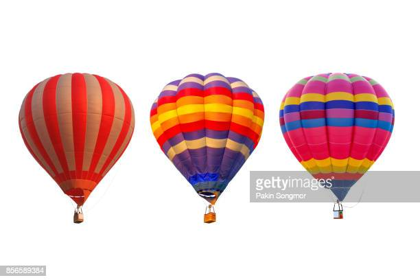 group hot air balloons isolated on white background - balloon ride stock pictures, royalty-free photos & images