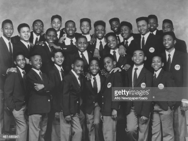 Group image of the Boys Choir of Harlem, New York, New York, 1980.