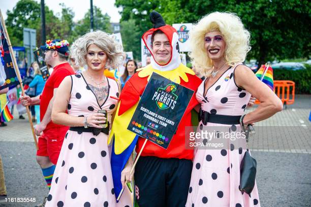 Group is seen posing for photographers prior to the march. Perth plays host to the event Perthshire Pride, an annual event for the LGBT+ community to...