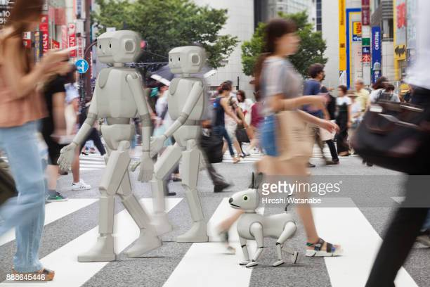 A.I. group is walking  in the scrambled intersection