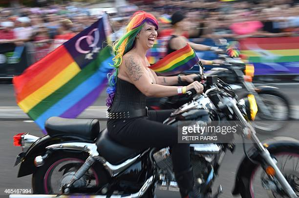 A group known as Dykes on Bikes head to the start of the Sydney Gay and Lesbian Mardi Gras Parade in Sydney on March 7 2015 Around 10000 people took...