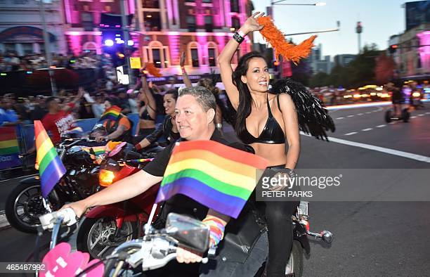 A group known as Dykes on Bikes start the Sydney Gay and Lesbian Mardi Gras Parade in Sydney on March 7 2015 Around 10000 people took part in the...