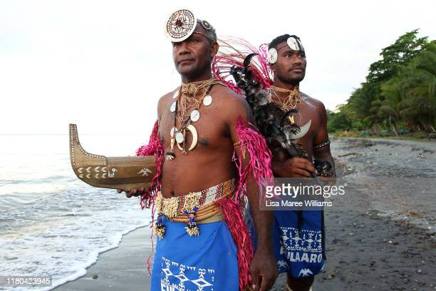 Group leader Michael Kaura and Rick Fairamoa of Fula'aro, male panpipe performers and dancers of the Solomon Islands Cultural Group during a...