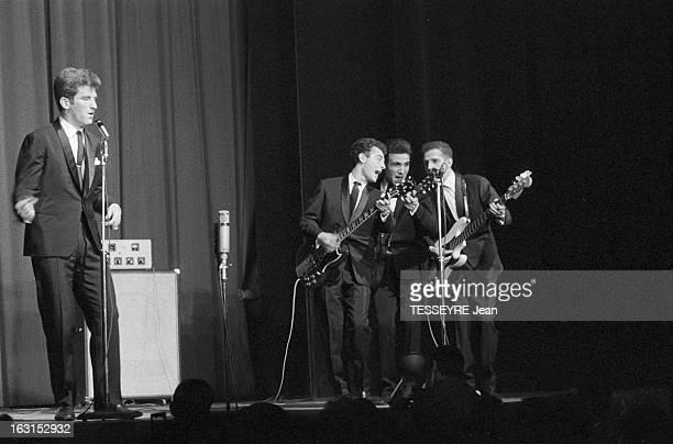 Group 'Les Chaussettes Noires'. Cretéil, Paris- 6 decembre 1962- Le groupe de rock français'Les Chaussettes noires': sur scène, de gauche à droite,...