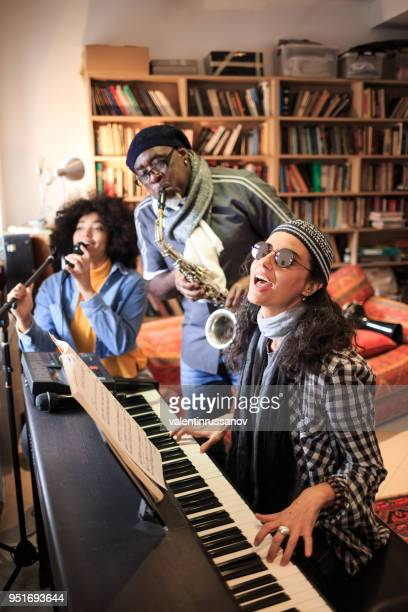 Group making jam session at home