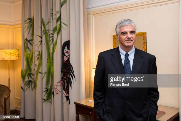 Group Managing Director Antonio Belloni poses in the Yi Zhou's 'Paradise Suite' at Hotel Lutetia on November 14 2013 in Paris France