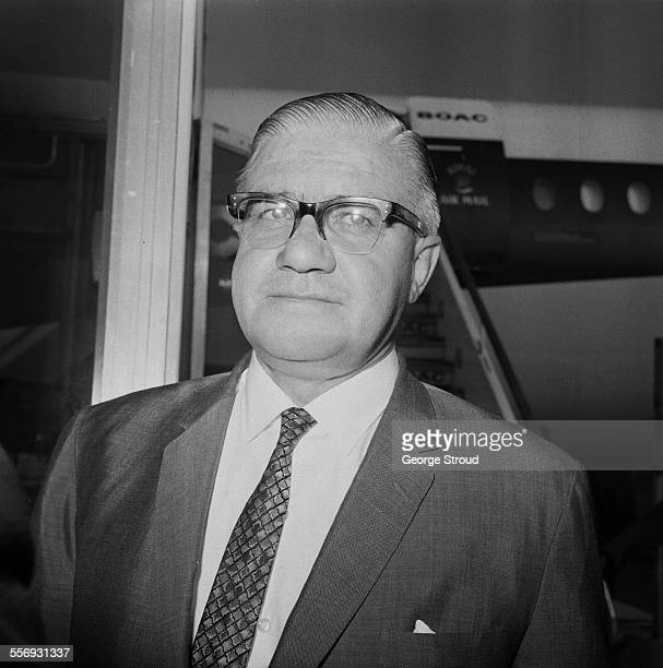 Group managing director of Royal Dutch Shell Frank McFadzean arriving at London Airport after travelling to Biafra to secure the release of the Shell...