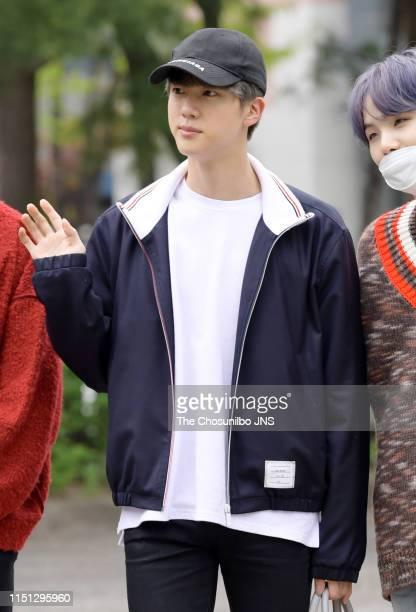 BTS group member Kim Seokjim shot before rehearsals for KBS 2TV's Music Bank at KBS' new hall in Yeouido Seoul on April 19 2019 in Seoul South Korea