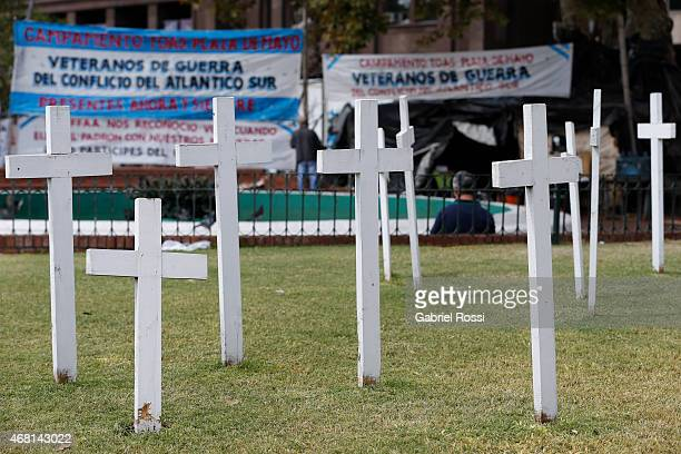 Group of 17 crosses represent the 17 soldiers fallen while protecting the Argentinian Patagonic Litoral in 1982, at Plaza de Mayo Square on March 27,...