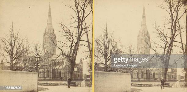 Group of 17 Early Stereograph Views of British Churches, 1850s-1910s.[Salisbury Cathedral]. Artist Unknown.